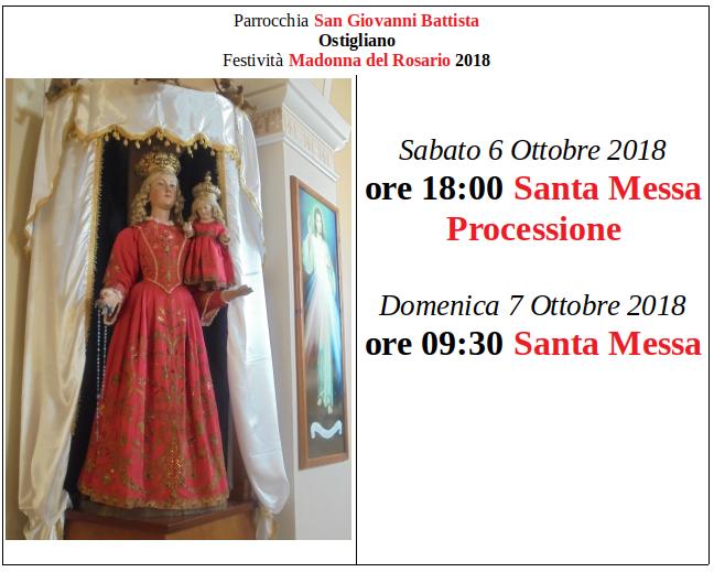 Ostigliano, Madonna del Rosario 2018